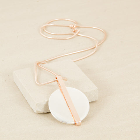 Rose Gold With Silver Disc Pendant Necklace