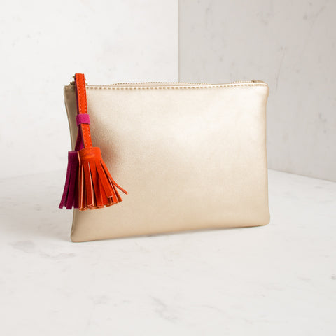 Gold clutch with tassel