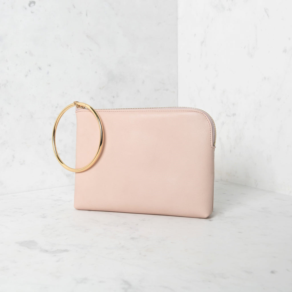 Pink metal ring curved edge pouch