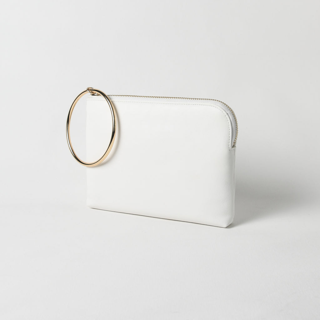 White metal ring curved edge pouch