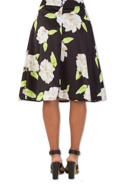 Printed A-Line Skirt,Bottoms - KassKo