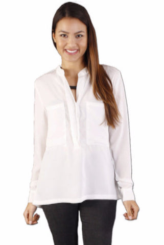 Chiffon shirt with stand collar,Shirts - KassKo