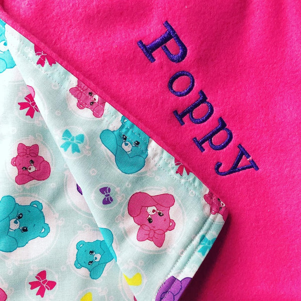 Care Bear Baby Blanket 90cm x 90cm With Personalised Name