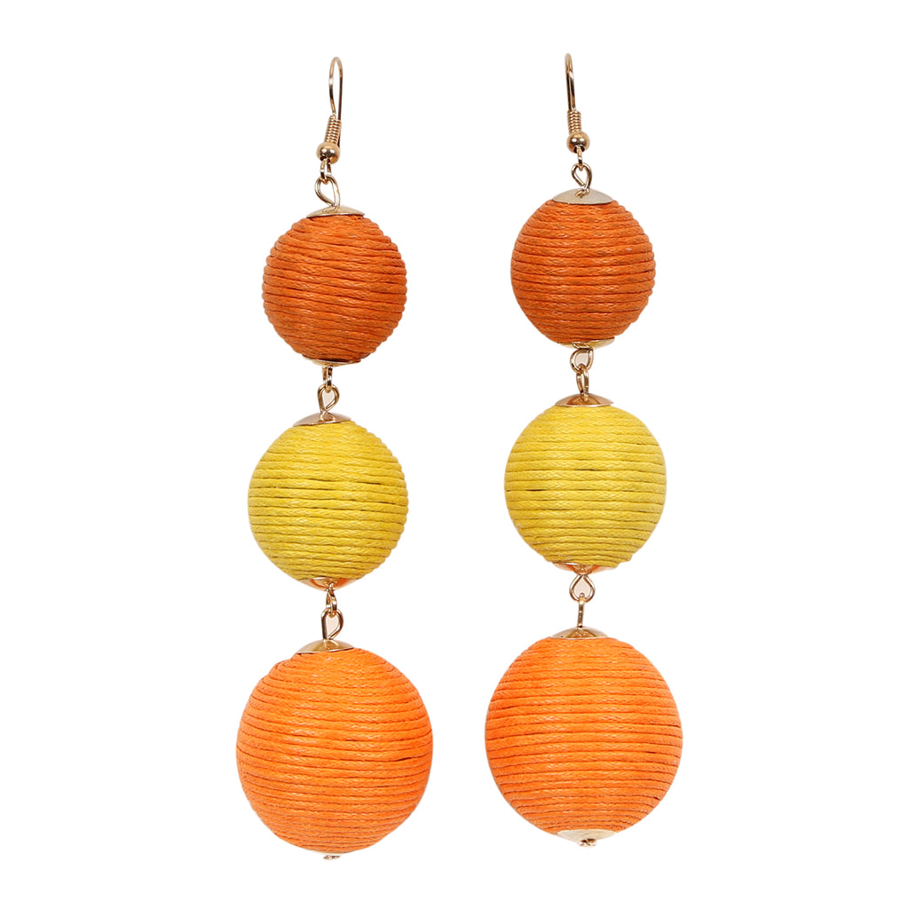 Triple Orange Bauble Gold Drop Earrings,Jewellery - KassKo