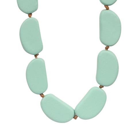 Wooden Bayleaf Bead Necklace - Mint,Jewellery - KassKo
