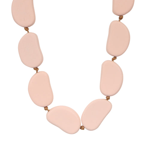 Wooden Bayleaf Bead Necklace - Pink,Jewellery - KassKo