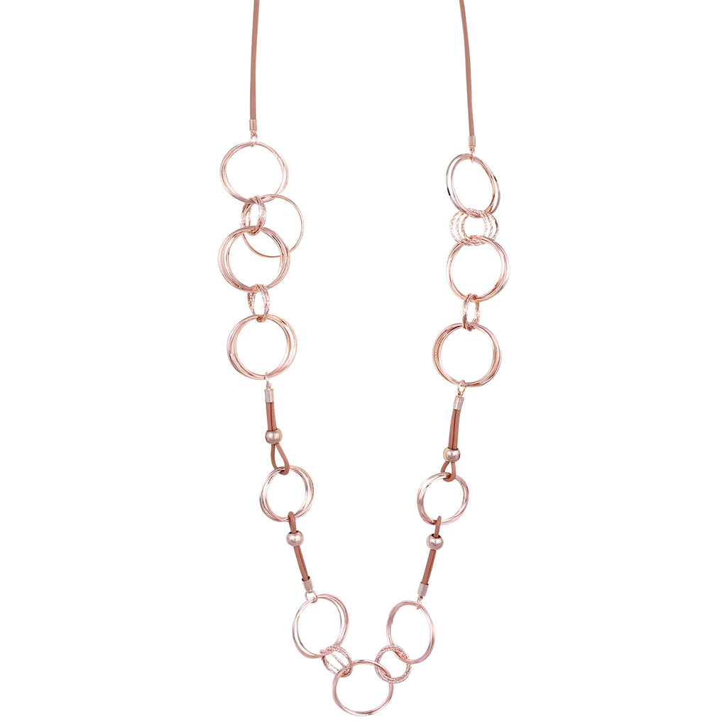 Faux Leather and Rose Gold Rings Necklace,Jewellery - KassKo