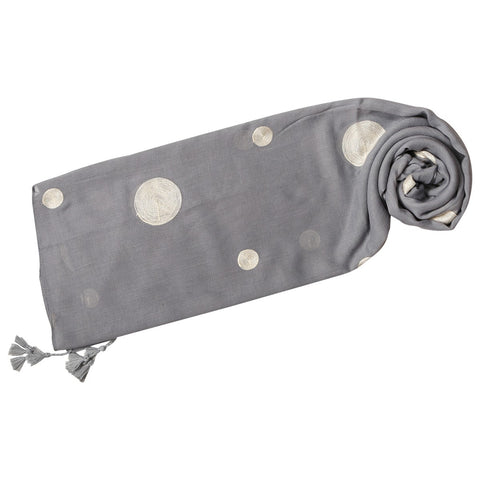 Grey Embroidered Sphere Scarf