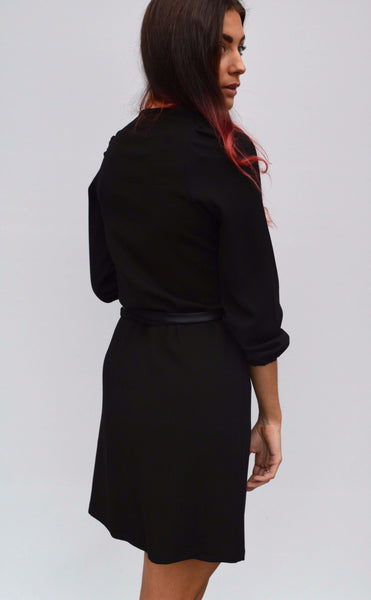 Black wrap dress with leather tie,Dresses - KassKo