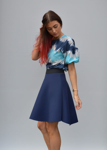 Neoprene Navy Circle Skirt With Elastic Waist,Skirts - KassKo