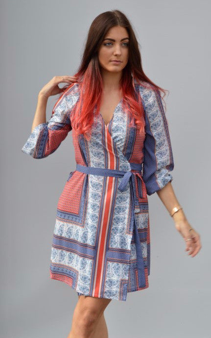Blue Red Print Long Sleeve Wrap Dress,Dresses - KassKo