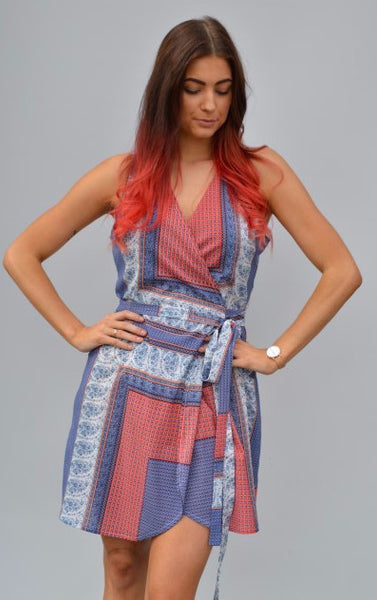 Women's red blue printed wrap sleeveless dress