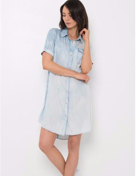 Selena Washed Denim Dress,Dresses - KassKo