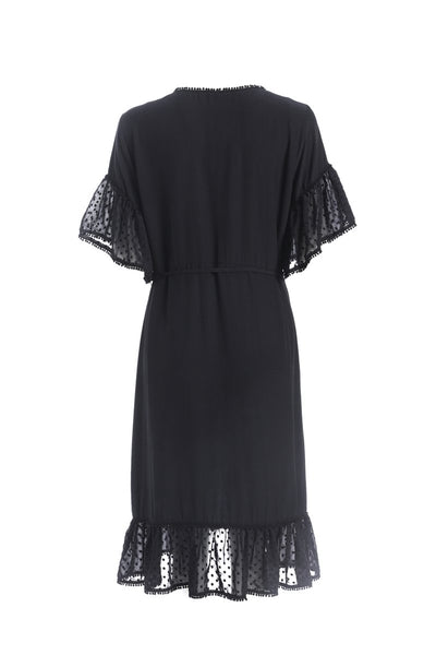 Black Knee Length Dress with Spot Sleeve and Frill