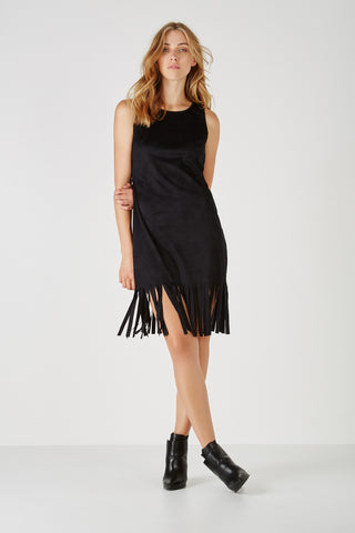 Sleeveless dress with fringes,Dresses - KassKo