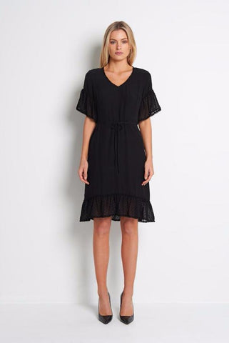 Black Knee Length Dress with Spot Sleeve and Frill,Dresses - KassKo