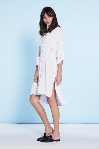White Shirt Dress with Black Stripe and Belt,Dresses - KassKo
