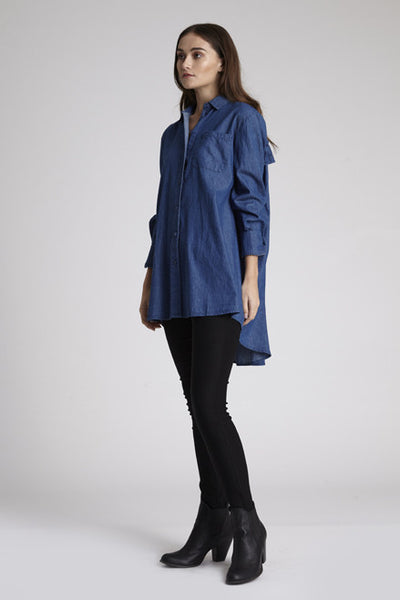 Denim Ruffle Shirt Dress,Dresses - KassKo
