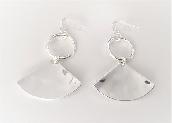 Beaten Fan Ring Hook Earrings