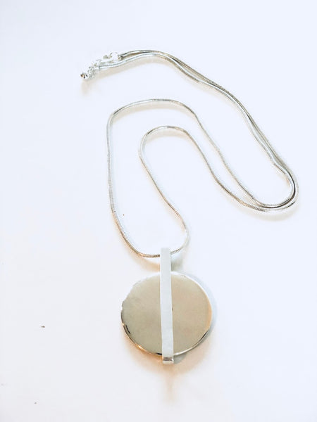 Silver With Gold Disc Pendant Necklace,Jewellery - KassKo