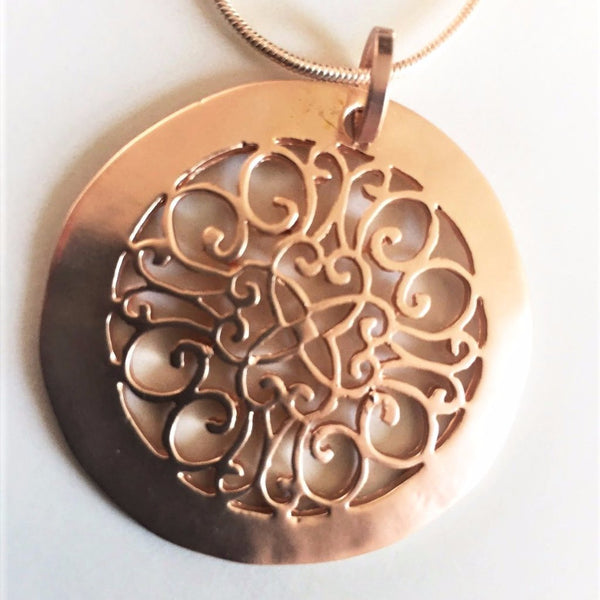 Rose Gold Filigree Disk Necklace with Rose Gold Studs
