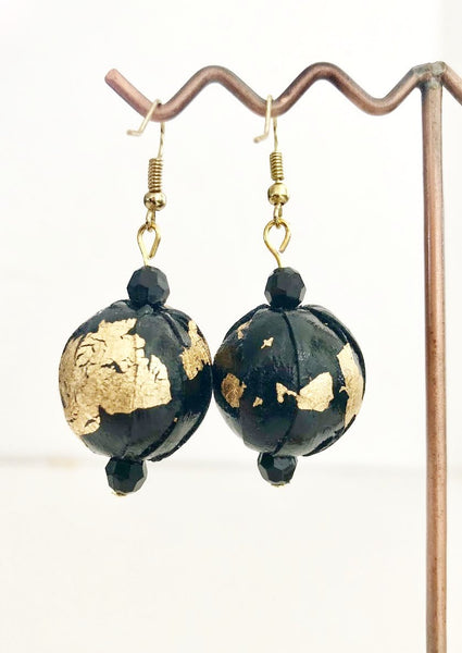 Gold and Black Leather Earrings