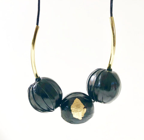 Gold and Black Leather Bead Necklace,Jewellery - KassKo