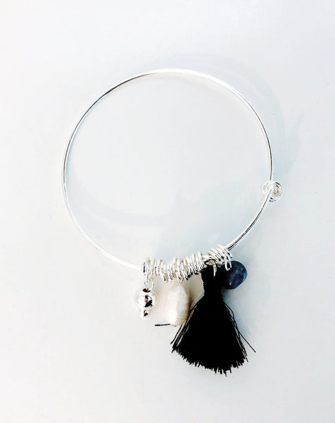 Silver Bead and Black Tassel Adjustable Bracelet