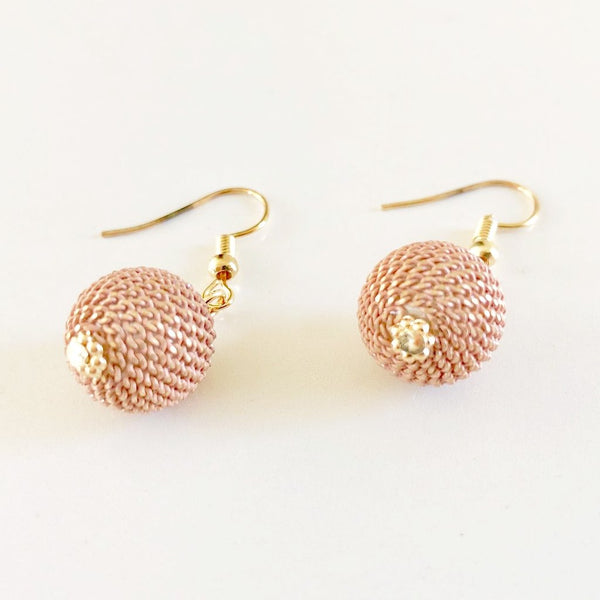 Pink Sphere Chain Gold Earrings,Jewellery - KassKo