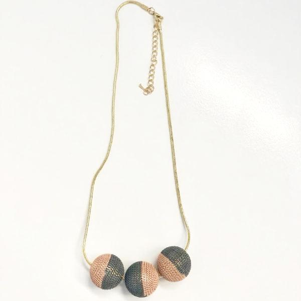 Short Gold and Pink Three Sphere Chain Necklace,Jewellery - KassKo