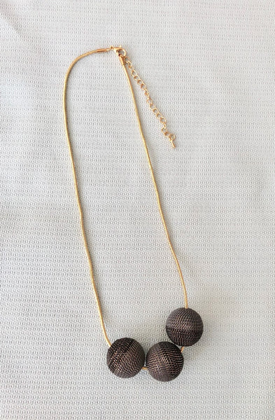 Short Gold Grey and Black Three Sphere Chain Necklace