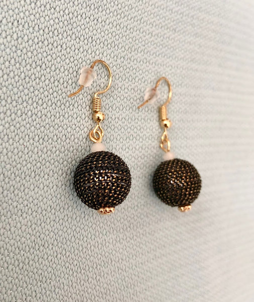 Black Sphere Chain Gold Earrings,Jewellery - KassKo