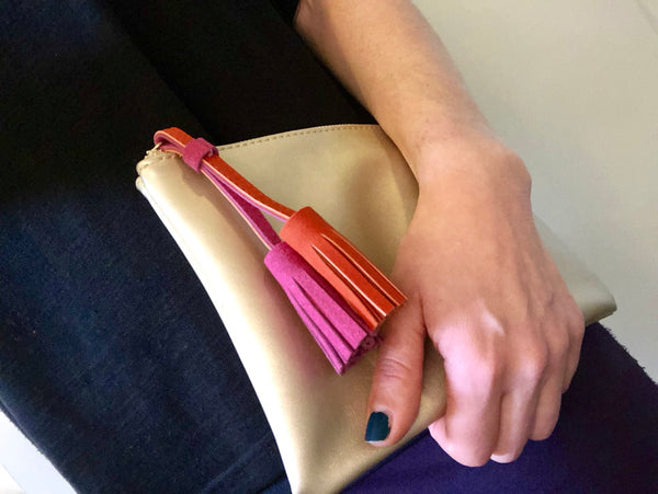 Gold clutch with tassel,Scarf - KassKo