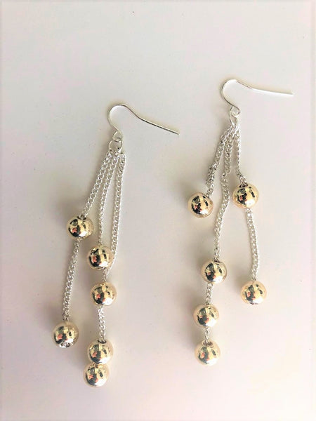 Silver and gold multi chain ball hang down earrings