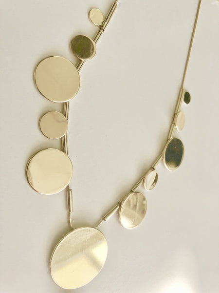 Gold multi disk short necklace