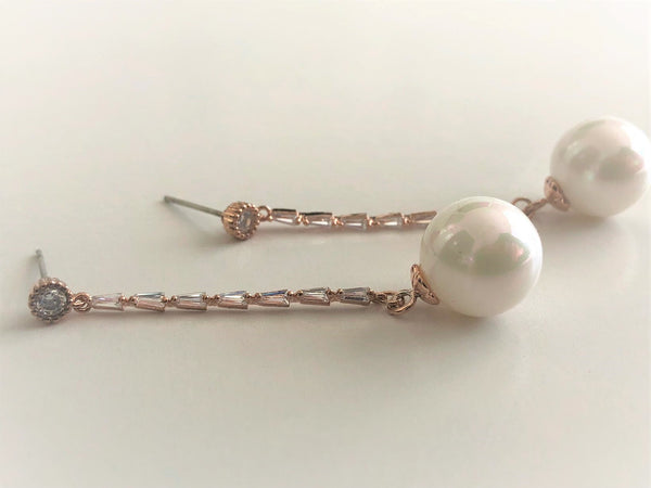 Rose gold stud pearl drop hang down earrings
