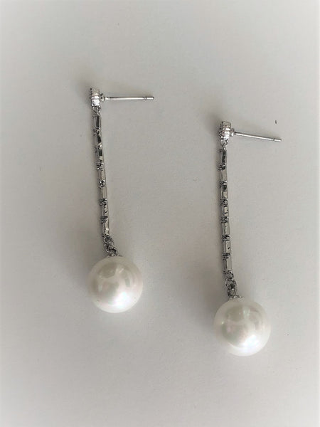 Silver stud pearl drop hang down earrings