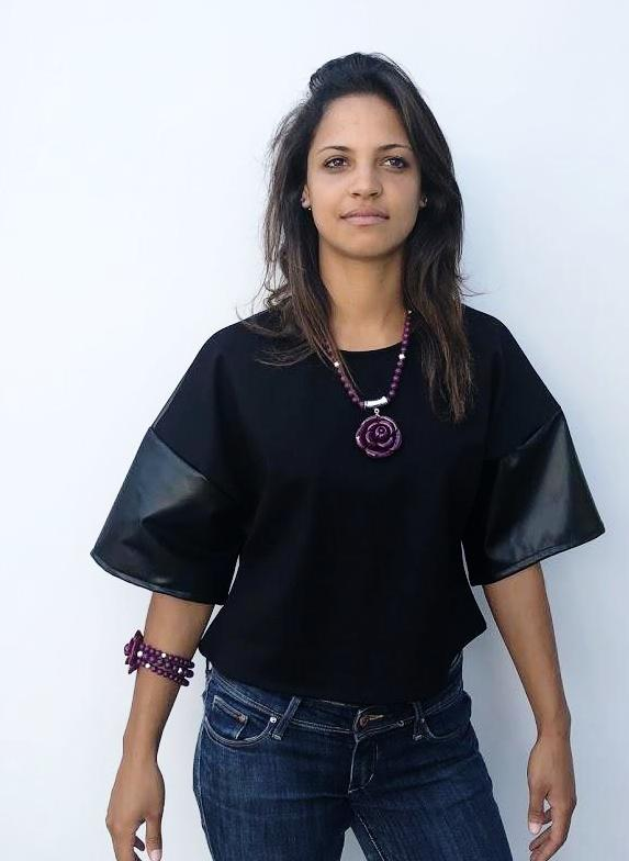 Black Contrast Leather Loose Short Sleeve Top