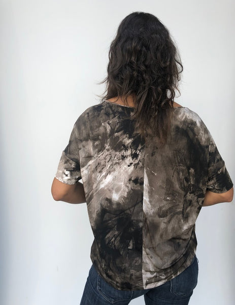 Short Sleeve Camouflage Loose Top With Arm Band
