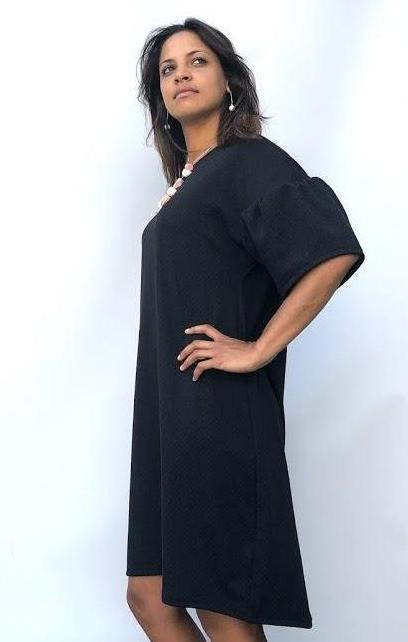 Black Gathered Sleeve Hi Low Dress