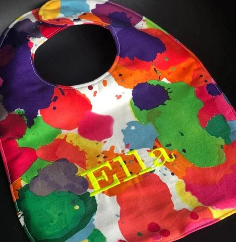 Paint Splotch Embroidered Baby Bib