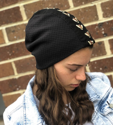 Black waffle soft jersey slouch beanie with sequin bees