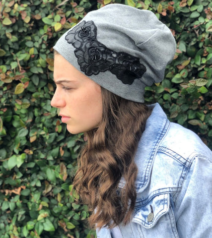 Grey soft jersey slouch beanie with black flowers