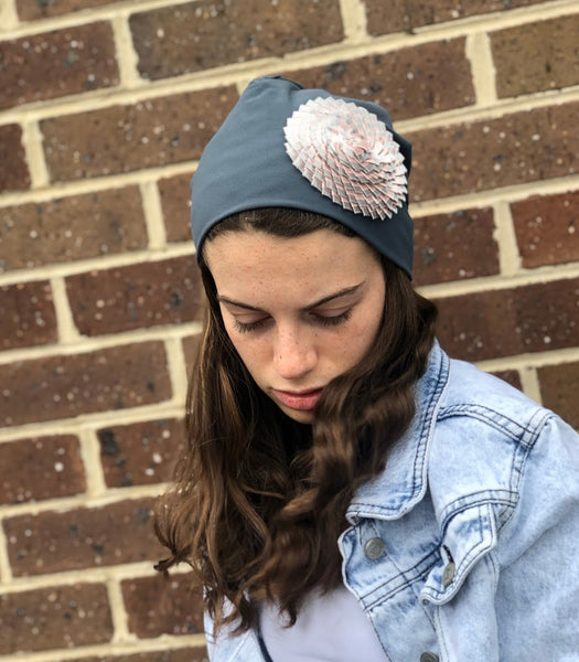 Slate grey blue soft jersey slouch beanie with pink and grey flower
