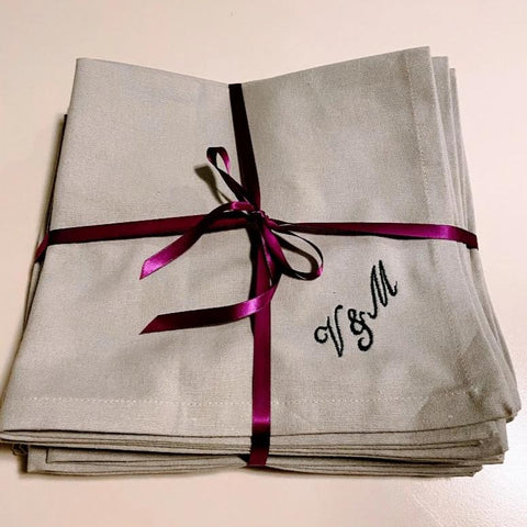 Large Cotton Napkins with Personalised Details 50cm x 50cm (2 Pack)