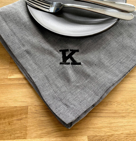 Large Cotton / Linen Napkin with Personalised Details 50cm x 50cm