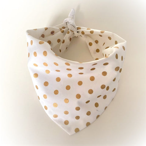Gold Spots Doggy Bandana With Personalised Name