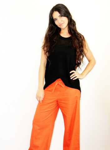 Wide leg orange pants / trousers in cotton/linen