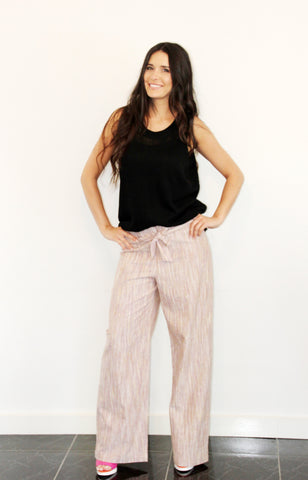 Wide-Leg Pant Natural Stripe,Bottoms - KassKo
