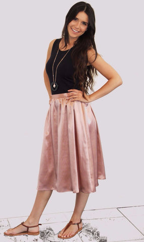 Midi Gathered Skirt - Rose,Bottoms - KassKo